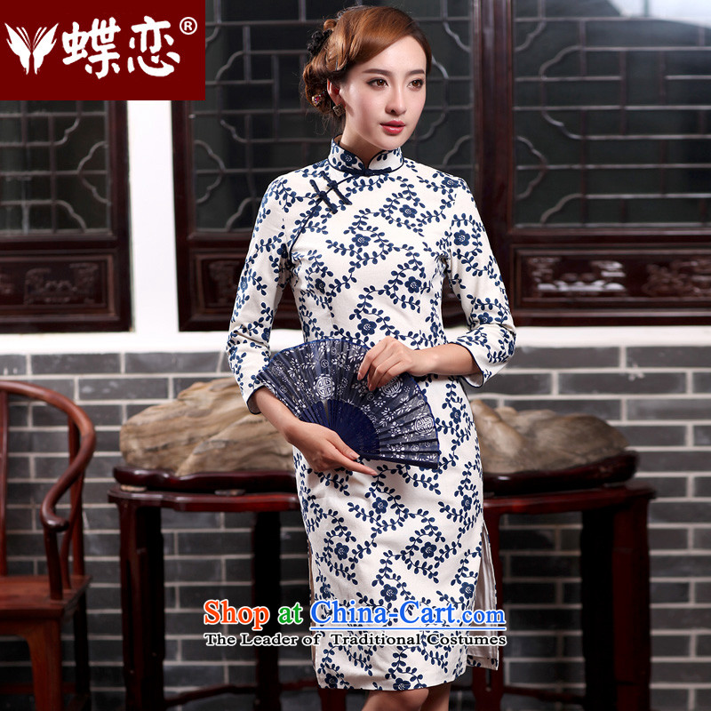 The Butterfly Lovers autumn 2015 new for women improved stylish cheongsam dress daily Sau San cotton linen dresses 47011 figure聽XXL
