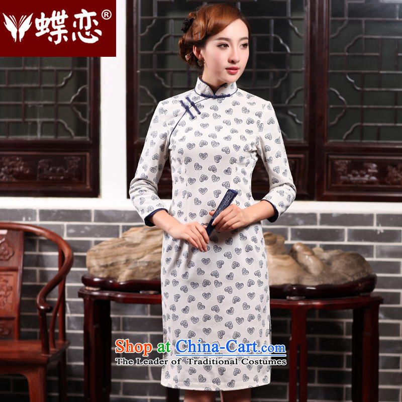 The Butterfly Lovers autumn 2015 new for women improved stylish cheongsam dress daily Sau San cotton linen dresses suits 47012 figure燲XL