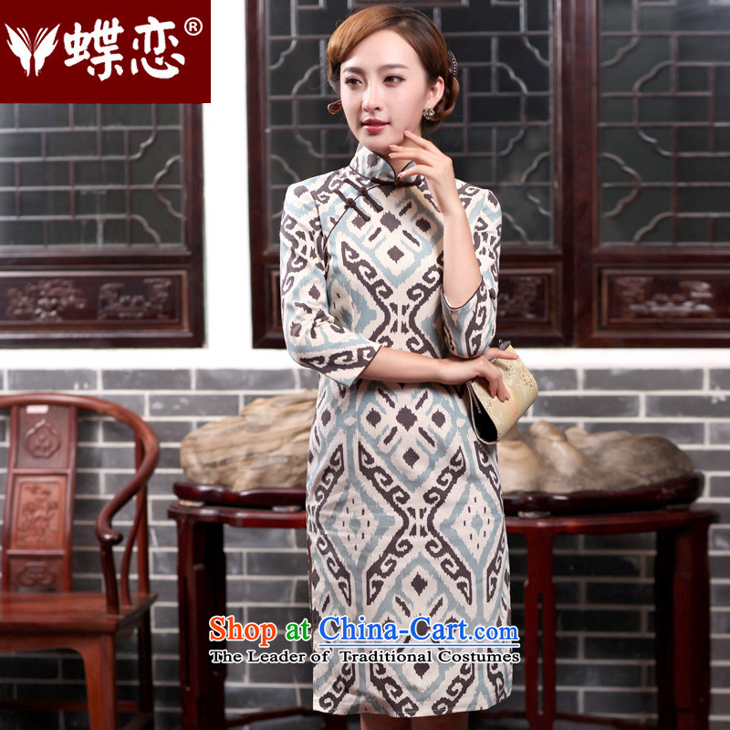 The Butterfly Lovers autumn 2015 new for women cotton linen dresses skirt retro style Sau San improved cheongsam dress 47013 figure聽XXL