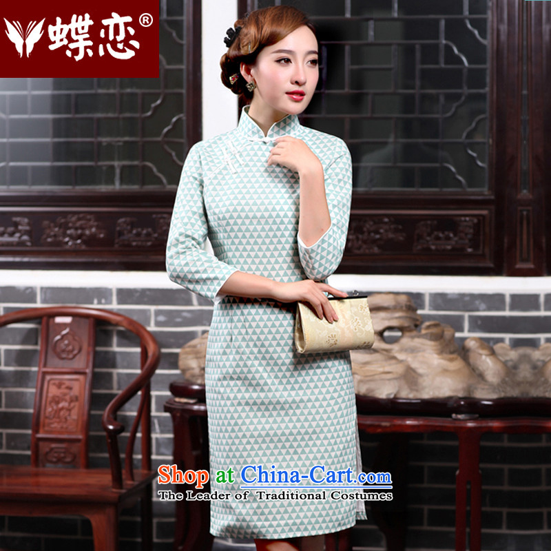 The Butterfly Lovers autumn 2015 new for women improved stylish cheongsam dress daily Sau San cotton linen cheongsam dress 47014 figure?M