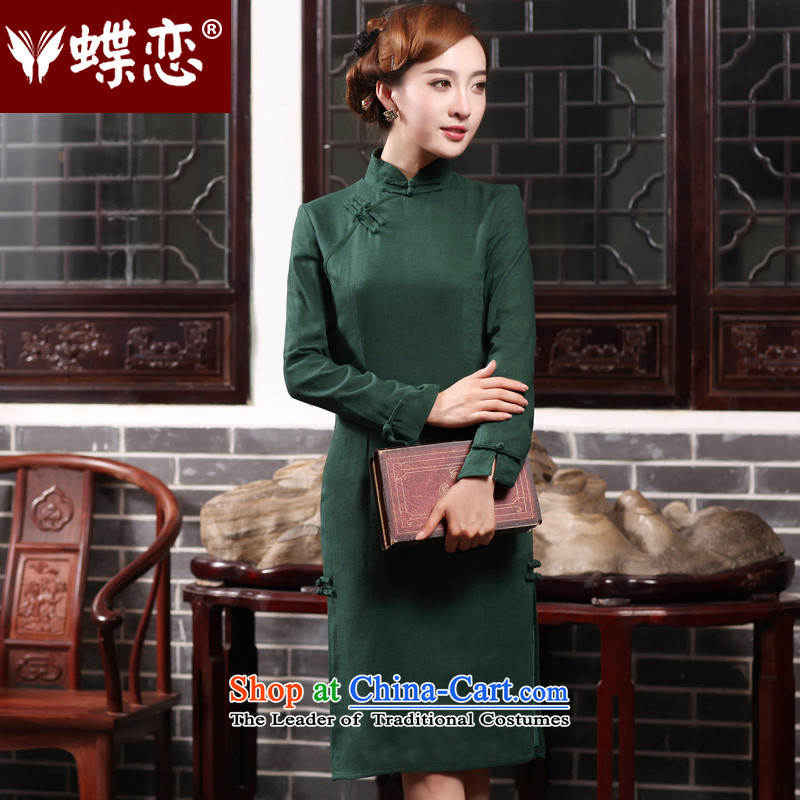 Butterfly Lovers 2015 Autumn New) cheongsam dress temperament retro long cotton linen dresses daily fashion improved cheongsam dress�47017�Emerald�XXL