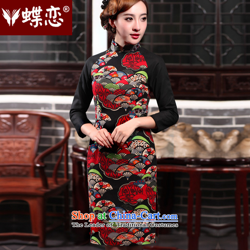 The Butterfly Lovers autumn 2015 new for women of ethnic retro style cheongsam dress daily improved Sau San qipao 47018 figure聽XL