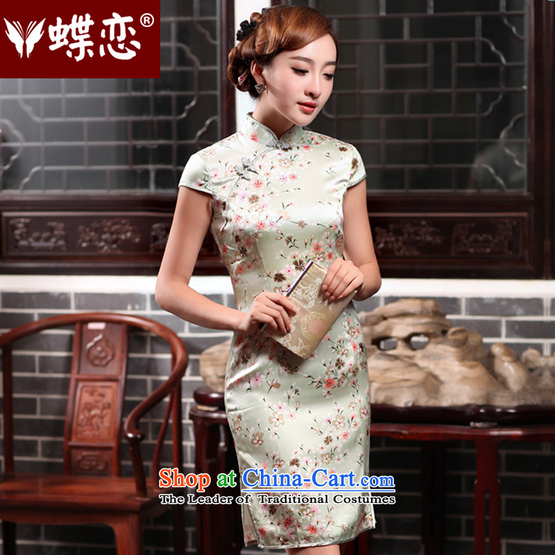 The Butterfly Lovers 2015 Summer new heavyweight herbs extract Silk Cheongsam retro improved cheongsam dress 47019 aquamarine?L