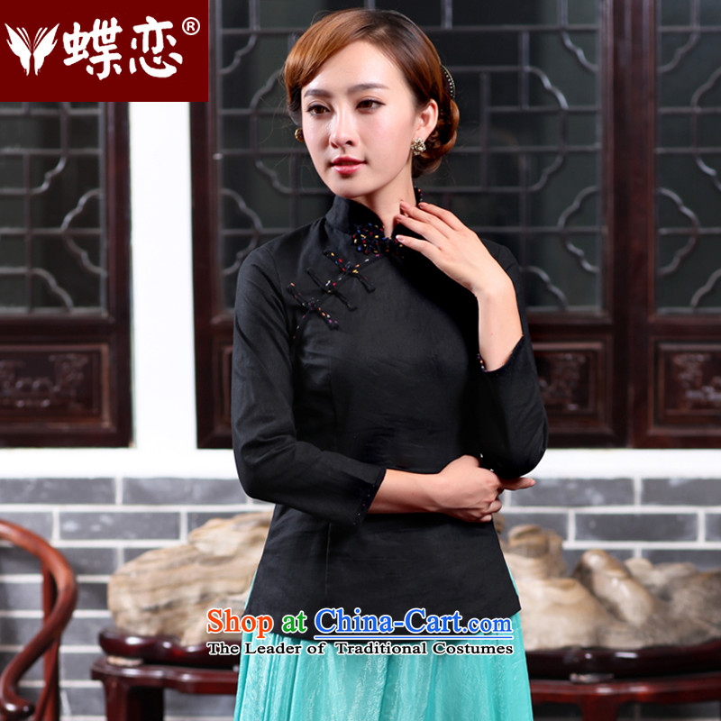 The Butterfly Lovers autumn 2015 new stylish improved qipao shirt China wind Tang dynasty cotton linen clothes 47020 female black?M