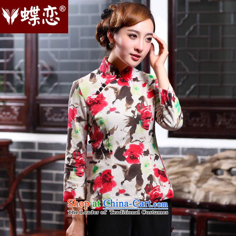Butterfly Lovers 2015 Autumn new cotton linen, stylish shirt qipao improved ethnic Chinese President Tang dynasty 47021 figure�XXL
