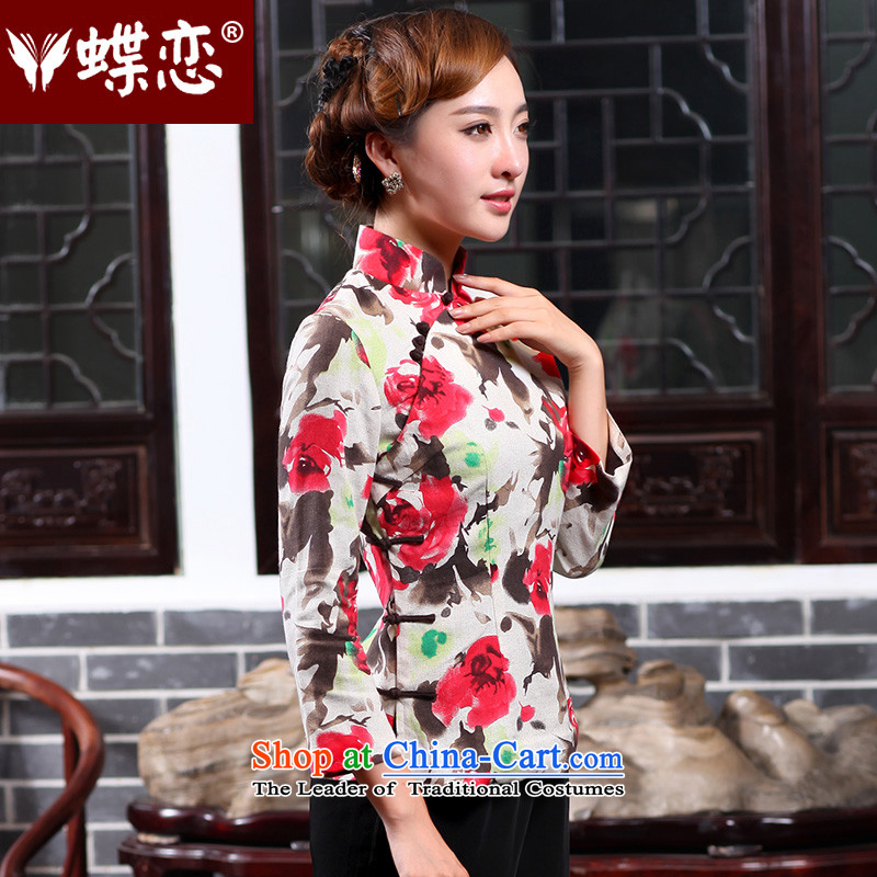 Butterfly Lovers 2015 Autumn new cotton linen, stylish shirt qipao improved ethnic Chinese President Tang dynasty 47021 figure聽XXL, Butterfly Lovers , , , shopping on the Internet