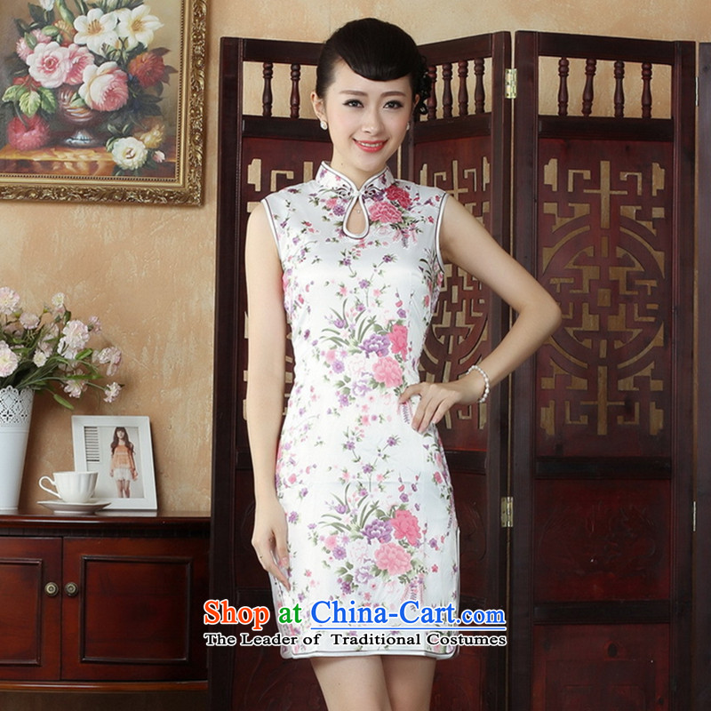C.o.d. floral Tang Dynasty, the new summer women's Mock-neck Chinese cheongsam dress qipao improvement - 1 White M