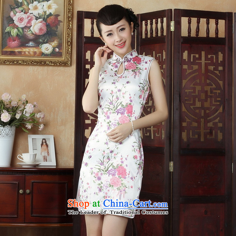 C.o.d. floral Tang Dynasty, the new summer women's Mock-neck Chinese cheongsam dress qipao improvement - 1 white floral , , , M shopping on the Internet