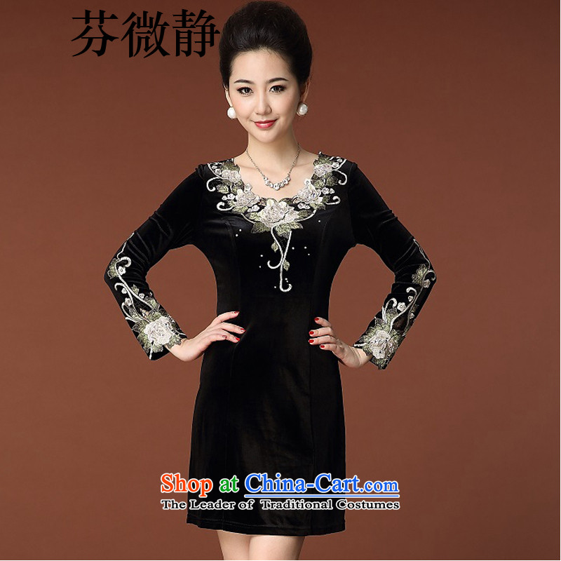 Leung Ching�15 Autumn loaded Micro-large female temperament Sau San long-sleeved Kim velvet cheongsam� 8352燘lack燲L