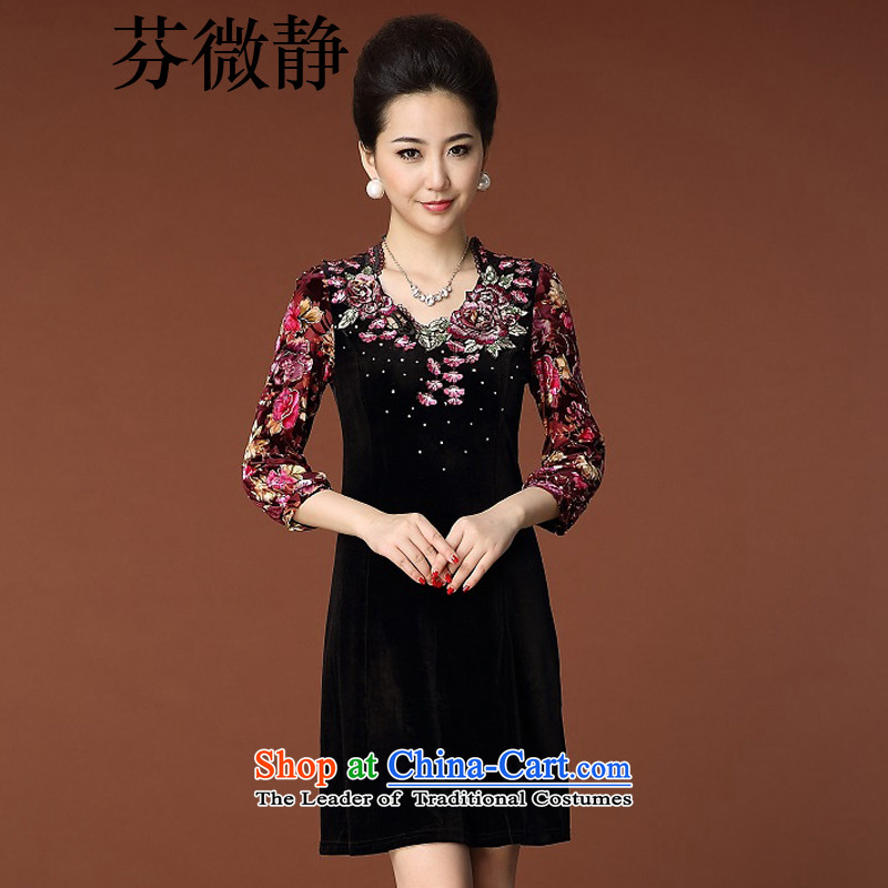 Leung Ching�15. The elderly micro-mother autumn replacing commuter women wear long-sleeved embroidered embroidery Kim velvet cheongsam black燤