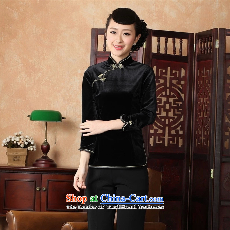 The Syrians poem card�14 Ms. Tang Dynasty Chinese clothing ethnic women improved 9 cuff upscale velvet cheongsam shirt black燣