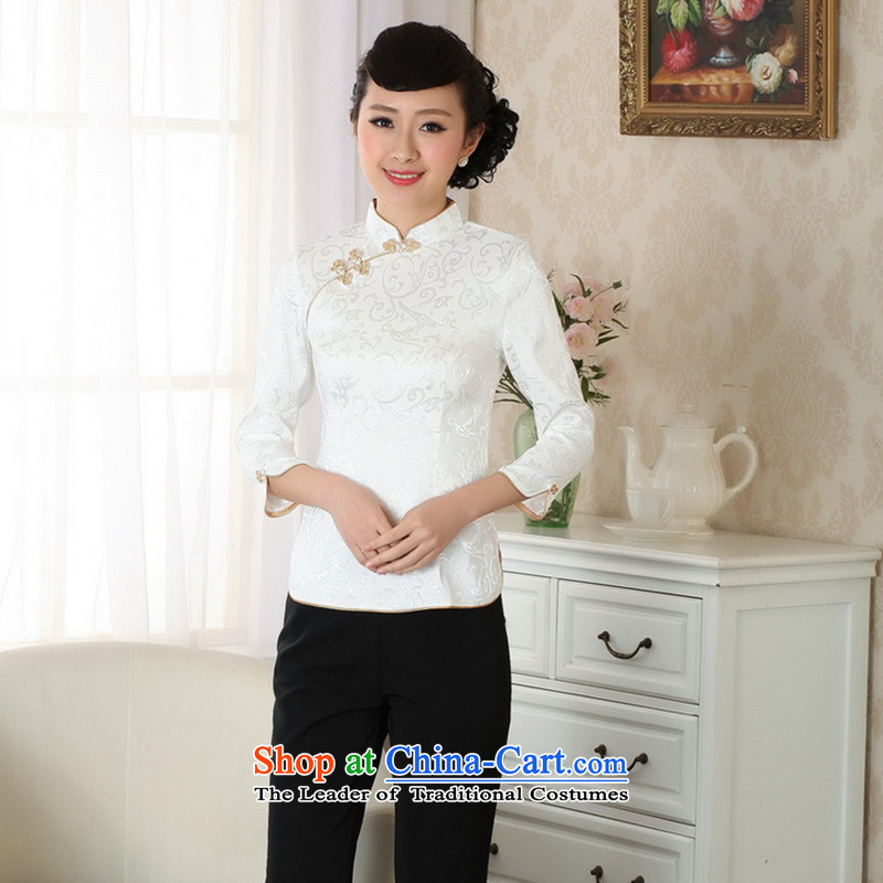 It fall inside the new collar improved qipao Tang Dynasty Chinese Tang Women's clothes is pressed to pure cotton shirt Tang tray clip White聽M