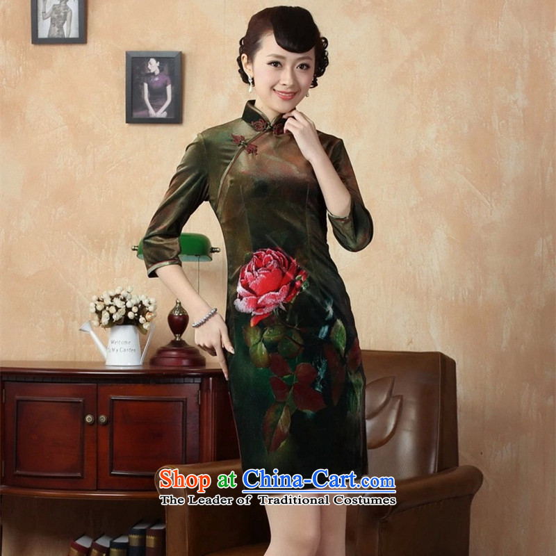 The Syrians poem card?women's high 2015 gold velour hand-painted a stamp for the cuff qipao?TD0002 Sau San?picture color?2XL