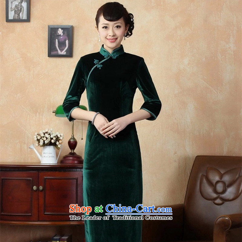 The Syrians Poem for elegant card female handmade solid color and the Stretch Wool seven gold sleeve length cheongsam green S