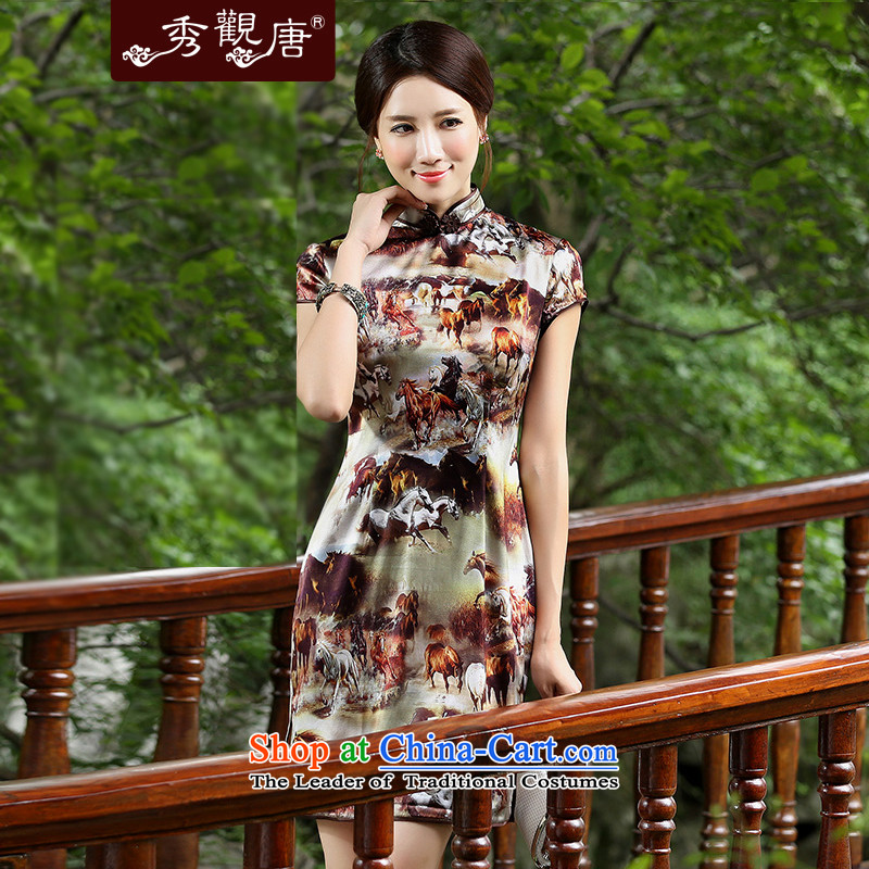 -Sau Kwun Tong- 2014 Summer empties with earth retro stamp Silk Cheongsam upscale herbs extract qipao QD4523聽XXXL Suit