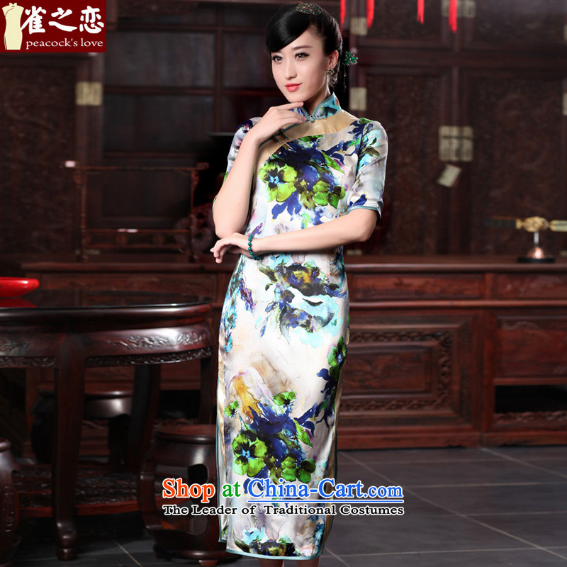 Love of birds shower curtain asafi?spring 2015 new cheongsam dress retro elegant long Silk Cheongsam QD536 SUIT?S