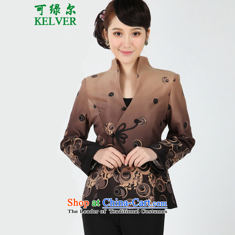 Can Green, older women's autumn and winter trendy new products with mother collar stamp Tang jackets - 1 card its XL