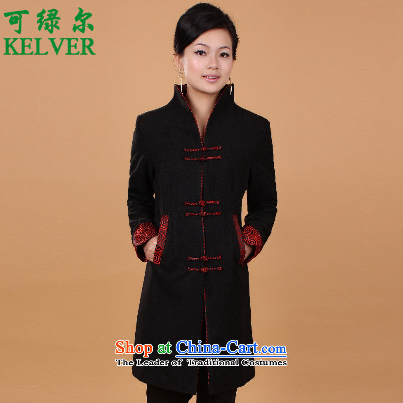 Can Green in older women's stylish new moms spring loaded collar stitching Tang Dynasty Wind Jacket _2987_ D - 2 black燤