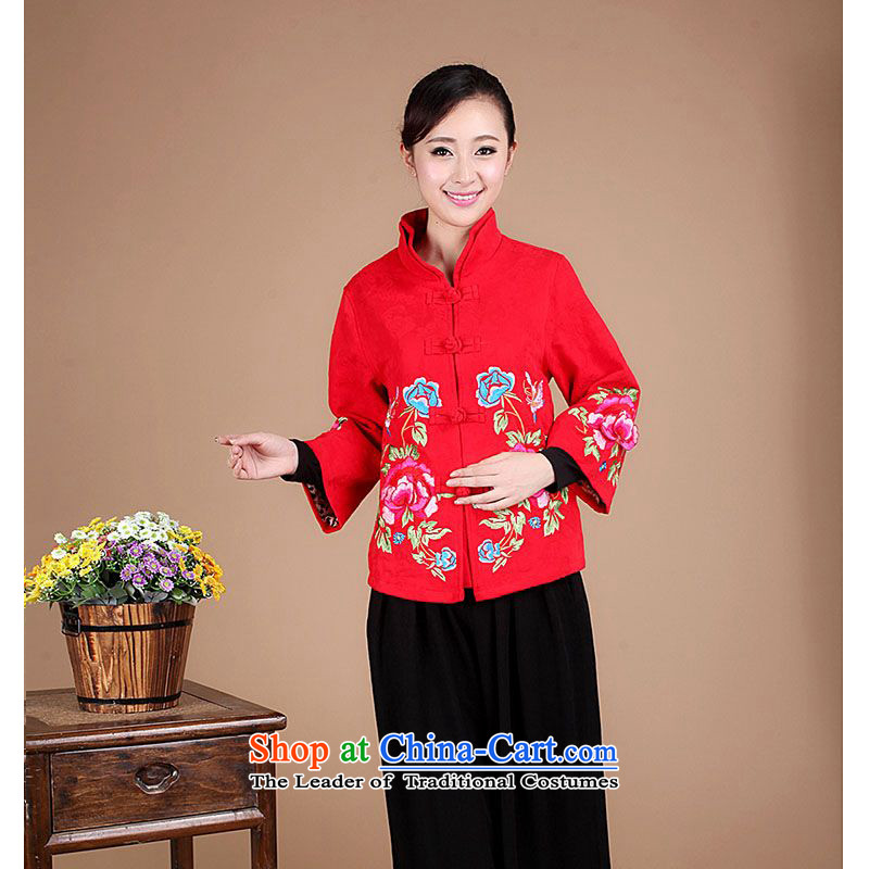 The 2014 autumn forest narcissus loaded on a new cotton jacquard Tang dynasty embroidery peony mother blouses FGR-A1301 RED�XXL