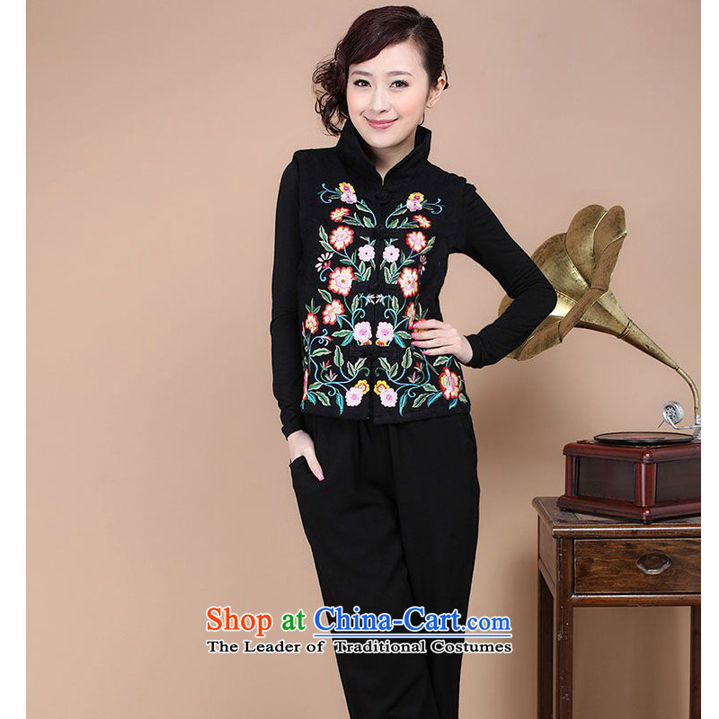 The 2014 autumn forest narcissus loaded on a new cotton jacquard collar retro Tang dynasty embroidery cheongsam vest Fgr-a086 black燲XL