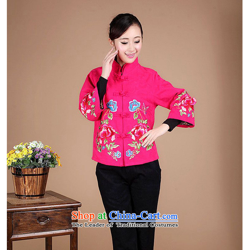 The 2014 autumn-jae on cotton jacquard retro Tang dynasty botanical flower embroidery peony mother blouses Fgr-a1301 rose red XXL