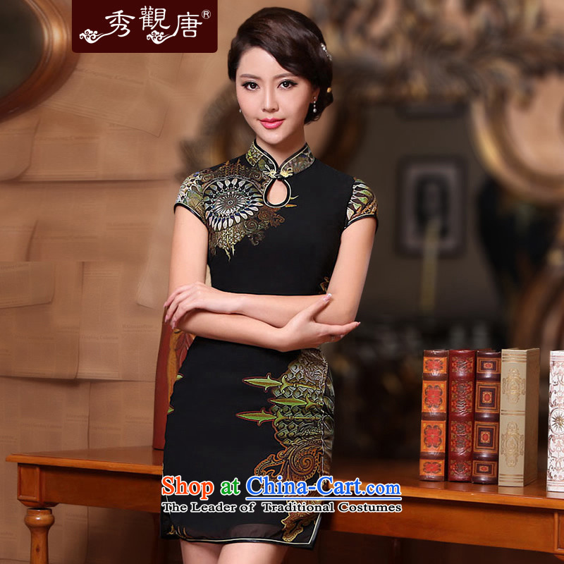 The fate of the new sense of the reformer compass 2015 Summer cheongsam look stylish Sau San chiffon slim Chinese cheongsam dress black�XXXL sepia