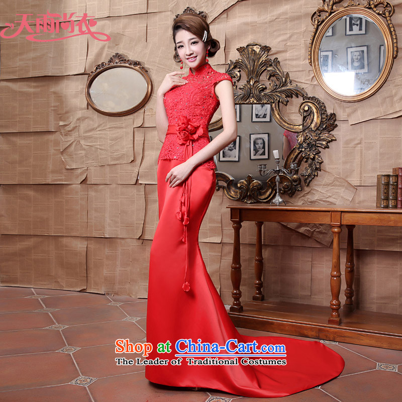 Rain-sang yi wedding dress 2015 new stylish improved services red brides marriage bows lace tail qipao QP547 tailored red