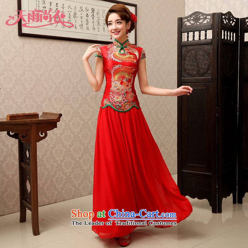 Rain-sang yi 2015 new marriages qipao bows to split Kit Chinese qipao gown stylish improved QP489 red short-sleeved tailored