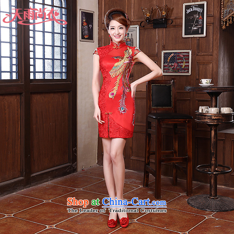 Rain-sang yi 2015 new marriage bride bows services and sexy lace Phoenix short skirts QP563 qipao gown small improvement tailored red