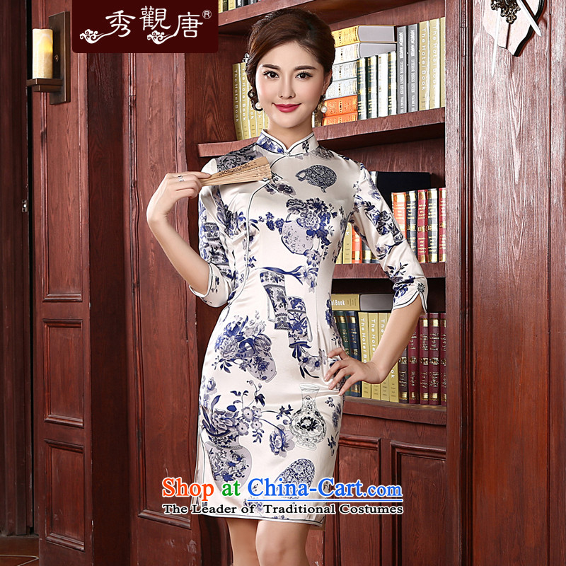[Sau Kwun Tong] Cheong Wa silk cheongsam dress vases�2015 spring/summer load new retro blue silk cheongsam look stylish sauna mother load in cuff QD411�L