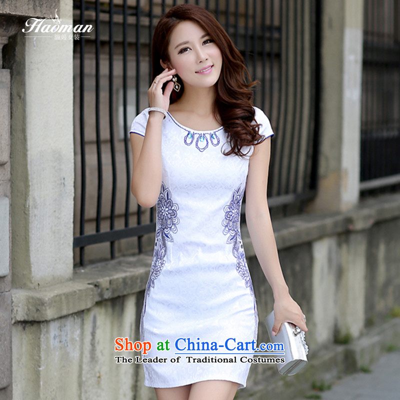 Xiaoman 2015 Summer qipao and Chinese Dress skirt Korean brides bows services Sau San Tong large thin graphics load dresses with porcelain cheongsam dress fw blue on white drill M