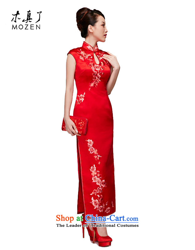 Wooden spring and summer of 2015 really new Chinese wedding dress hand embroidery Silk Cheongsam�22016 05 bridal long red�M
