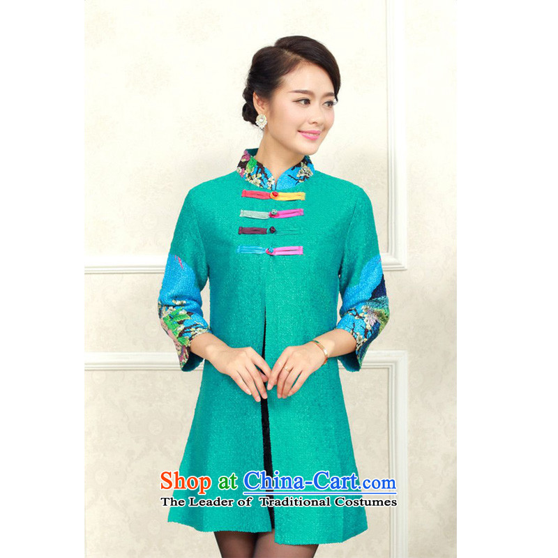 The 2014 autumn-jae on long collar Wah Kwai silk stamp wild Tang dynasty XYY-8311 GREEN燲L