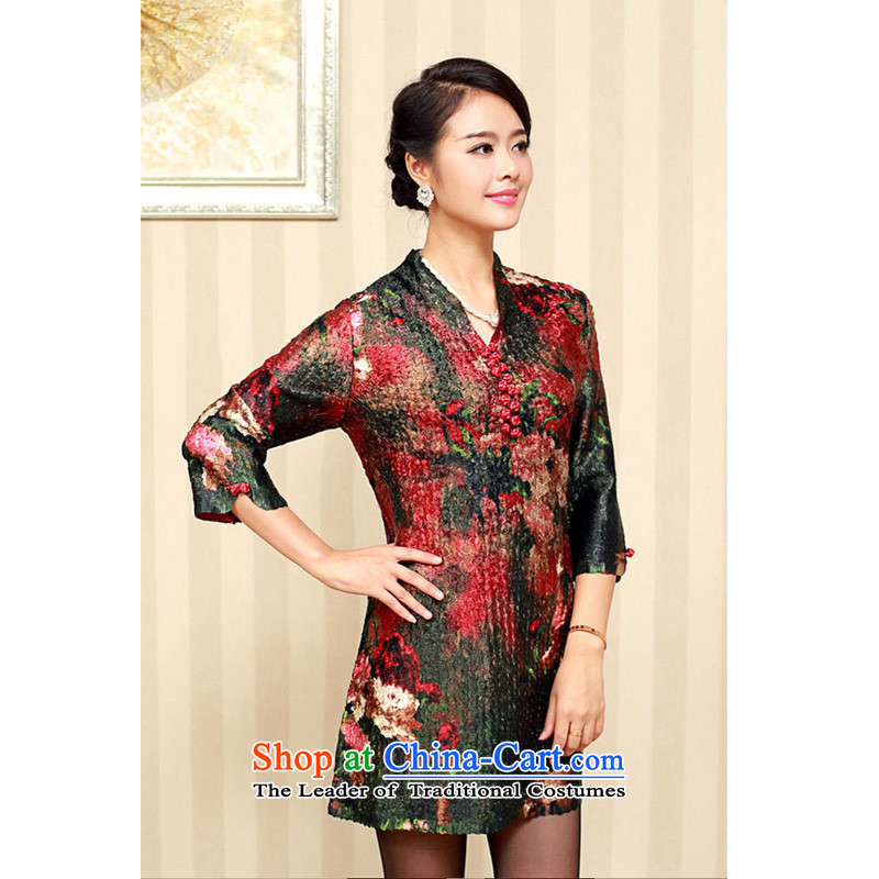 The 2014 autumn forest narcissus loaded on the elderly in the new stylish medium to long term, special stamp Wah Kwai creases Tang Dynasty Silk Dresses XYY-1286 02# XXXXL