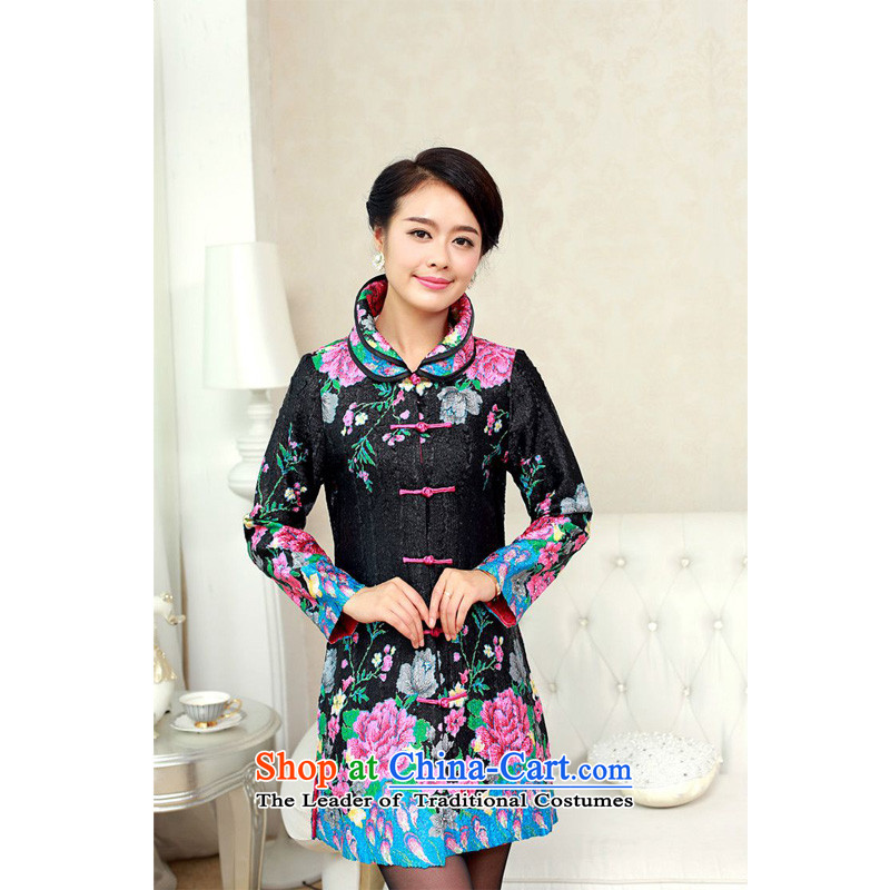 Forest Narcissus 2015 autumn on the elderly in the stylish long special creases Wah Kwai floral silk Tang dynasty XYY-1288 black�XXL
