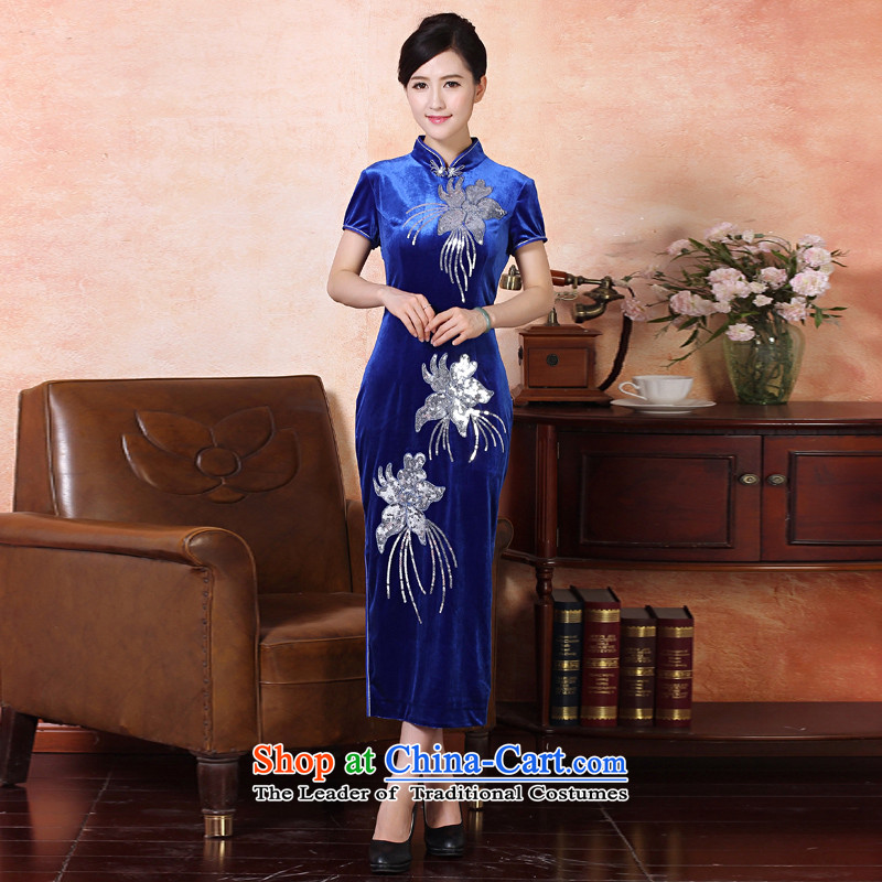 Oriental aristocratic counters genuine autumn 2015 installed new butterfly embroidery elegant qipao length skirts daily improved embroidery short-sleeved single pack mail silk noble stylish dining�4215 Lake燲XXL blue