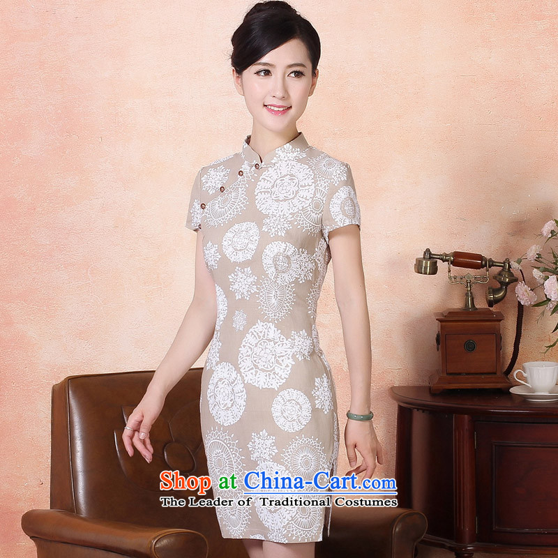 The aristocratic oriental light summer of Qipao 2015 counters genuine embroidery cotton linen dresses short-the forklift truck saika Sau San cheongsam dress 424184 m White S