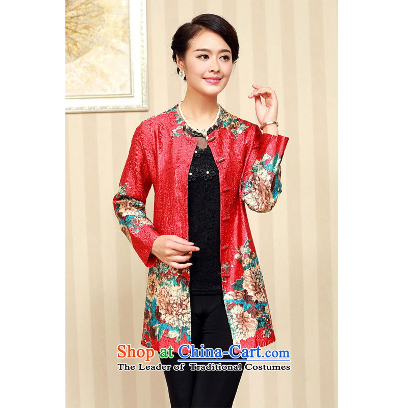 Forest Narcissus 2015 autumn on the elderly in the stylish medium to long term, silk single row detained round-neck collar Tang dynasty of the forklift truck long-sleeved XYY-8330 RED�XL