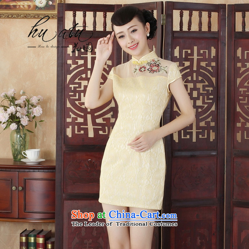 Floral Lady Jane Nga stylish improved Sau San lace short cheongsam dress female new Chinese cheongsam dress�4 yellow�L