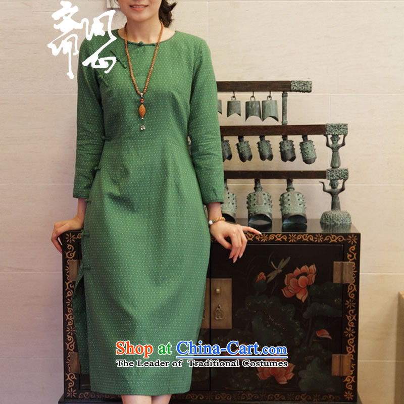 Q Shinsaibashi represented (Susanna fall as soon as possible the new tray tie point cotton long wave Sau San cheongsam dress WXZ1295 sepia manually customize 15 day shipping manually customize)