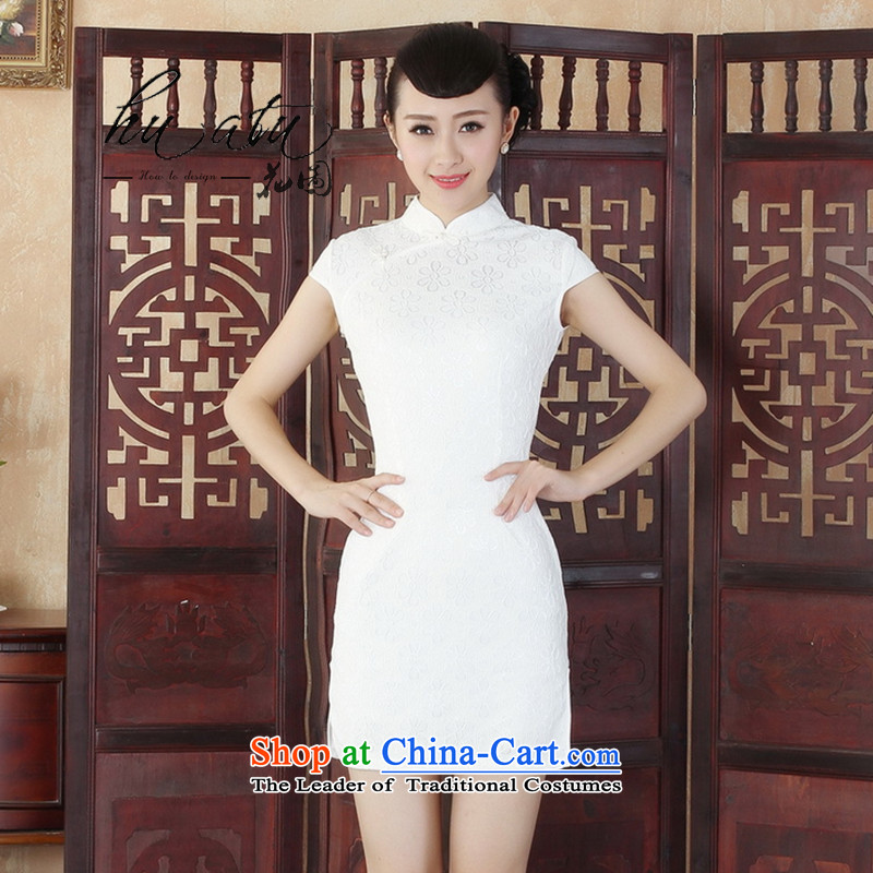It's simple but elegant and stylish improved Sau San collar lace short cheongsam dress of Chinese cheongsam dress new dresses White燤