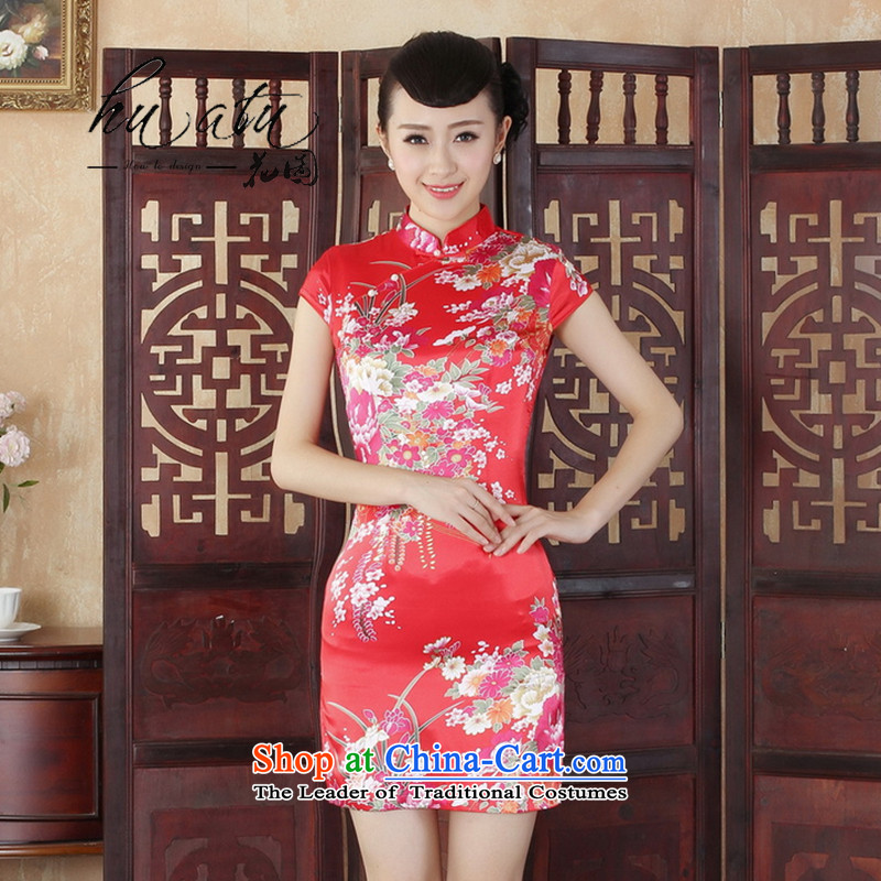 It New Tang Women's clothes cheongsam collar Chinese improved national costumes mini short flag�-B Red�L