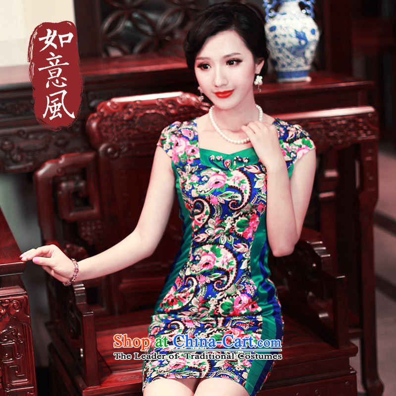 After a new wind 2015 Summer cheongsam dress stylish high-end-to-day retro stamp cheongsam dress 4501 4501 Blue?S