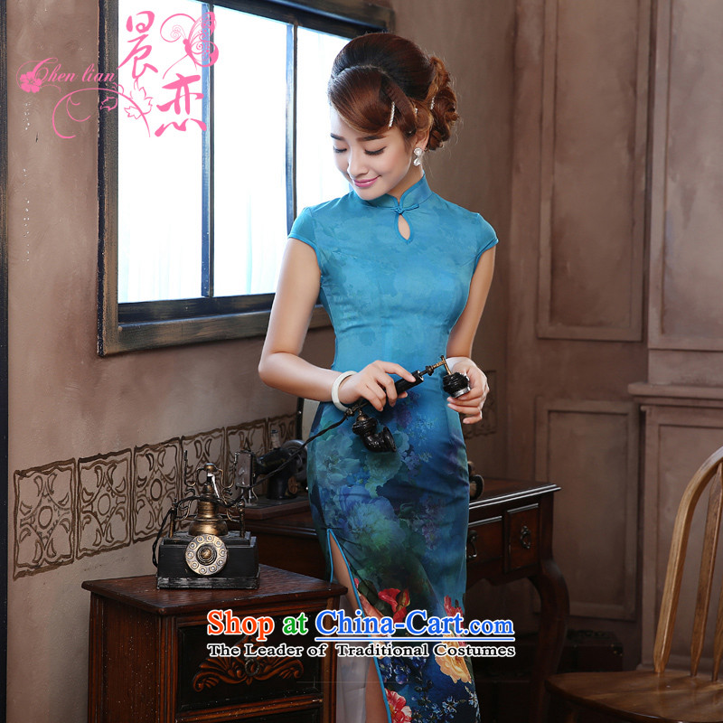 Morning new qipao Land summer retro long improved stylish herbs extract silk Chinese cheongsam dress Nga Yun blue燣