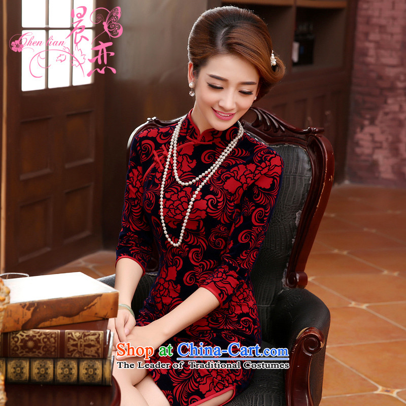 Morning spring and autumn 2015 new land Stylish retro short of improvement in the wool cuff cheongsam dress mother red燲L