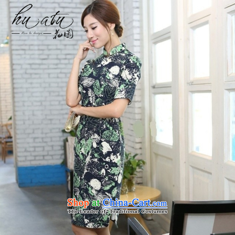 It during the spring and autumn female cotton linen collar in the flowers and leaves the cuff and knee in manual long cheongsam dress in the Mood for Love collar聽2XL, floral shopping on the Internet has been pressed.