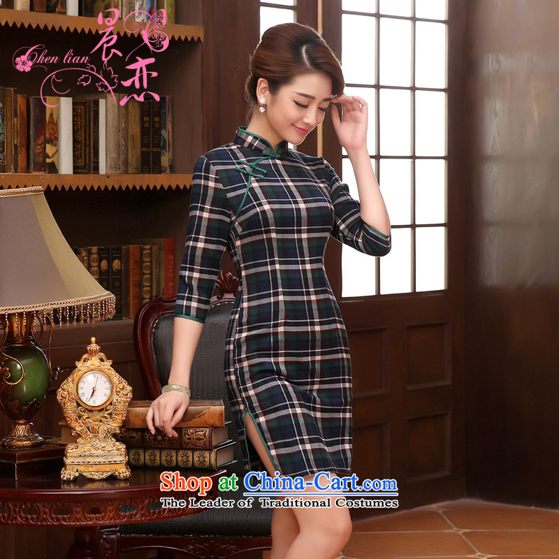 The 2014 autumn morning land new Stylish retro short of improved cuff cheongsam dress Classic Grid red large grid燤