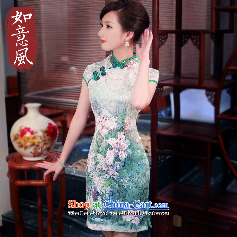 After a day of wind�spring and summer 2015 new high-end qipao improved retro-to-day Leisure cheongsam dress casual�4013 White�L