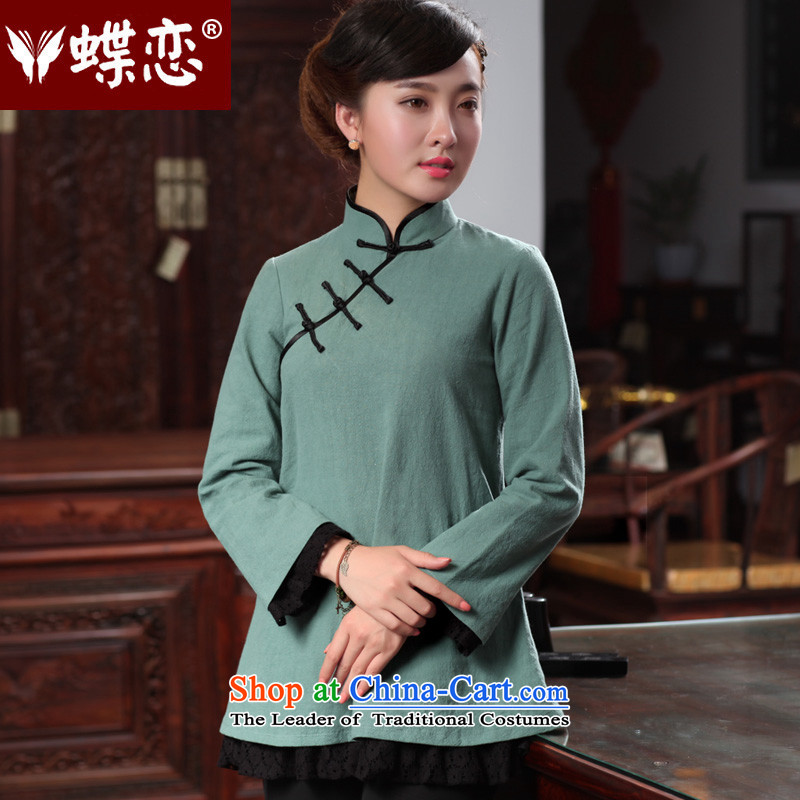 The Butterfly Lovers autumn 2015 new for women improved stylish shirt qipao cotton linen Sau San Tong replacing 48025 T-shirt, Cyan聽XL