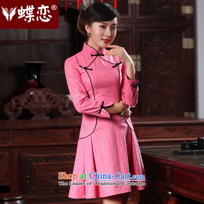 Butterfly Lovers 2015 Autumn new bridesmaid dresses QIPAO_ Improved stylish cheongsam dress often short of flag 48020 temperament cherry red聽S